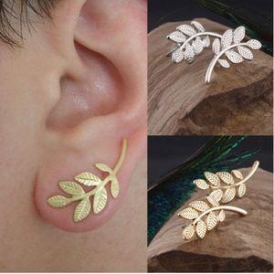Jewelry - Trendy Gold Leaf Ear Crawler Stud Earrings